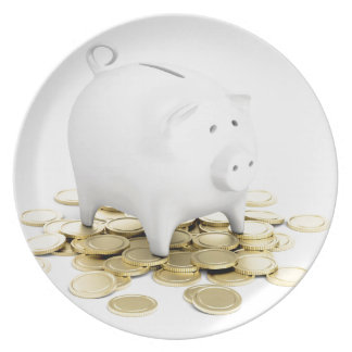 Piggy bank and coins plate