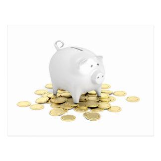 Piggy bank and coins postcard