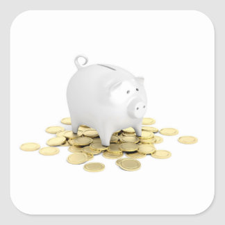Piggy bank and coins square sticker