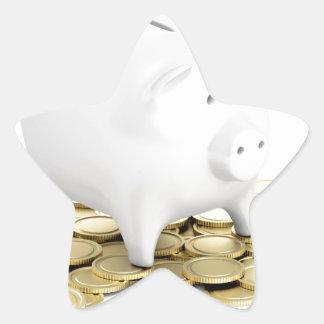 Piggy bank and coins star sticker
