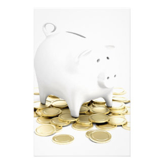Piggy bank and coins stationery