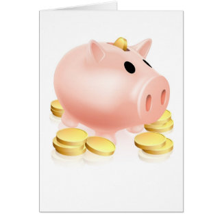 Piggy bank and gold coins cards