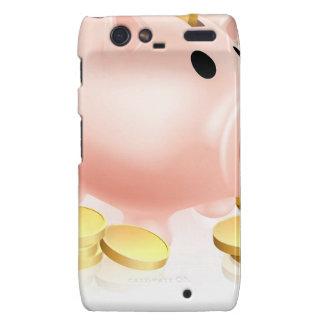 Piggy bank and gold coins droid RAZR cases