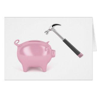Piggy bank and hammer card