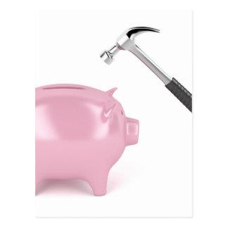 Piggy bank and hammer postcard