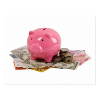 Piggy bank and money postcards