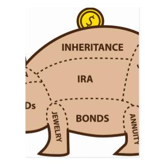Piggy Bank Chart Icon Postcard
