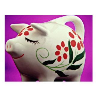 Piggy bank  flowers postcard