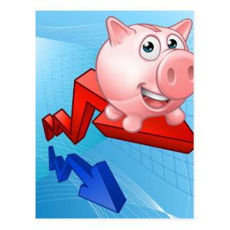 Piggy Bank Graph Concept Postcard