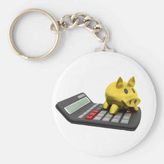 Piggy Bank On A Calculator Keychain