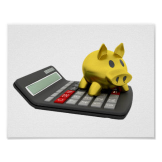 Piggy Bank On A Calculator Poster