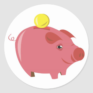 Piggy Bank Round Sticker
