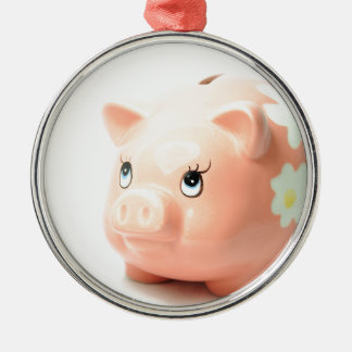 Piggy-bank Silver-Colored Round Decoration