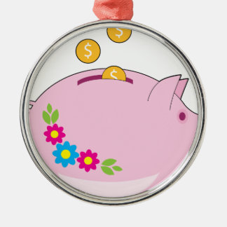 Piggy Bank Silver-Colored Round Decoration