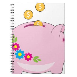 Piggy Bank Spiral Note Book