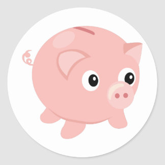Piggy Bank Round Sticker