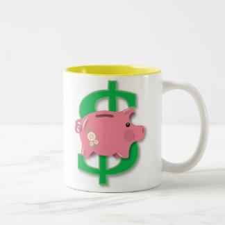 Piggy bank Two-Tone mug