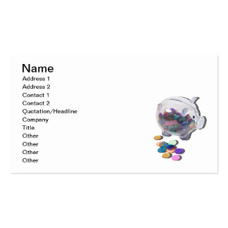 Piggy Bank with Colorful Chips Business Cards
