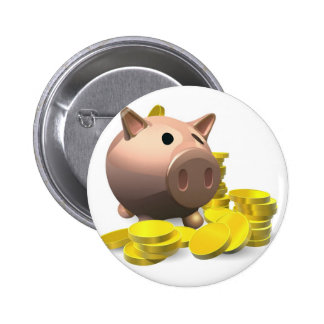 Piggy bank with gold coins illustration pins