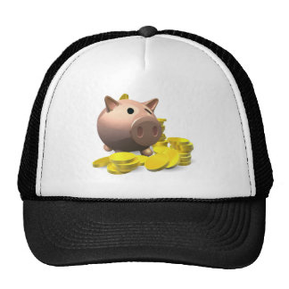 Piggy bank with gold coins illustration hat