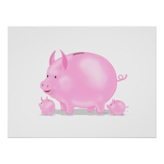 Piggy Bank With Piglets Poster