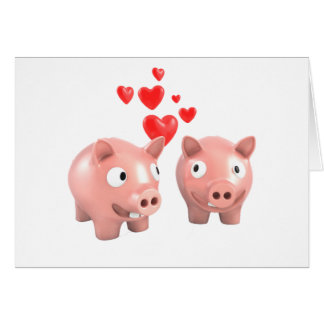 Piggy Banks In Love Greeting Cards