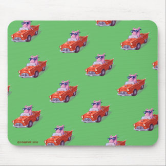 Piggy in Little Red Car Green mousepad
