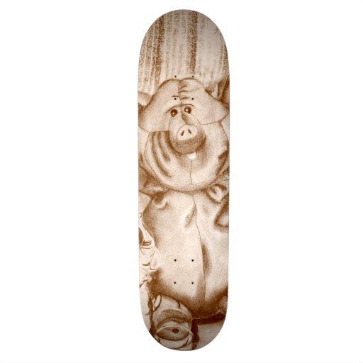 Piggy Stuffed Animal Brown Charcoal Drawing Skateboards