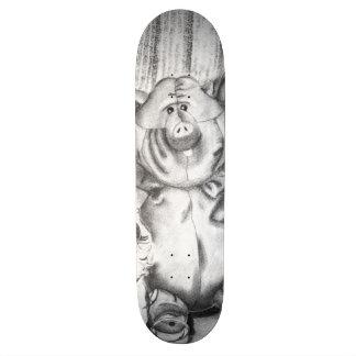 Piggy Stuffed Animal Charcoal Drawing Skateboard Deck