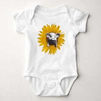 Piggy Sunflower Baby Bodysuit
