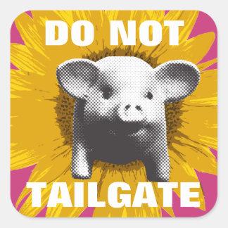 Piggy Sunflower Square Sticker