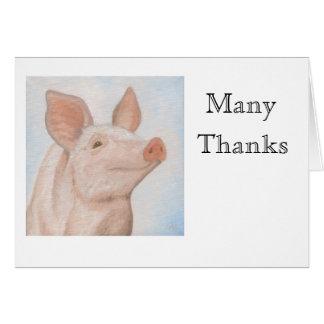 Piggy Thank You Notecard