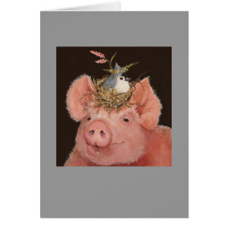 Piggy with tufted titmouse card