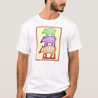 Piggyback Pigs - Three Colorful Pigs Piggy-Backing T-Shirt