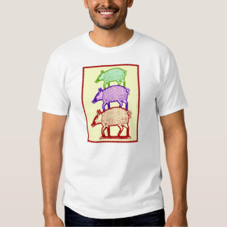Piggyback Pigs - Three Colorful Pigs Piggy-Backing Tee Shirts