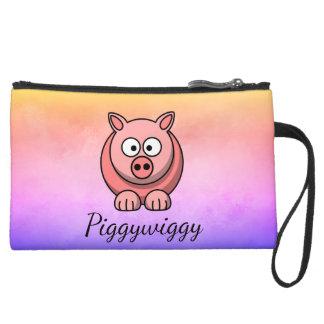 PiggyWiggy Little Pigling Pastel Cute Piglet Suede Wristlet