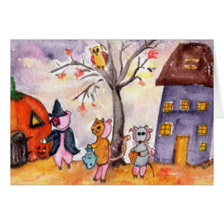 Piglets Trick or Treat Card