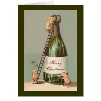 Pigs and Champagne; Funny Vintage Christmas Greeting Card