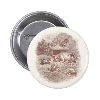 Pigs and Chickens in Barnyard Button