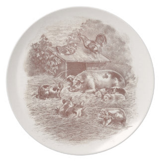 Pigs and Chickens in Barnyard Plate