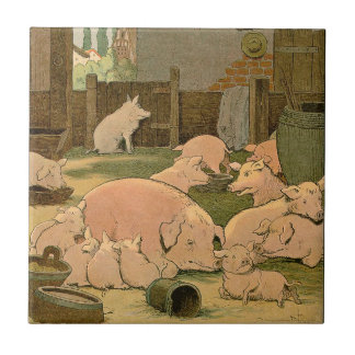 Pigs and Piglets on the Farm Ceramic Tile