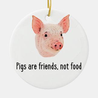 Pigs are friends, not food design round ceramic decoration