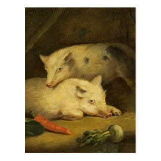 Pigs by George Morland Postcard