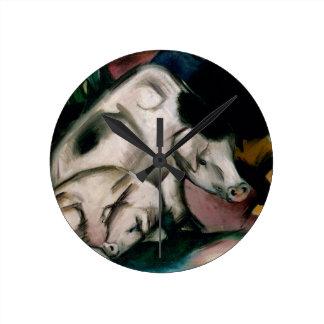 Pigs, c.1912 (oil on canvas) round clock