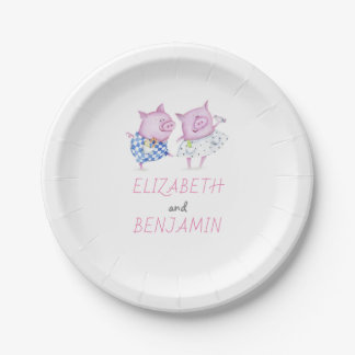 Pigs Couple Cute Pink and White Party or Wedding Paper Plate