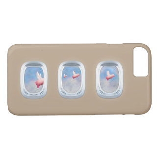 pigs flying past airplane windows iPhone 8/7 case