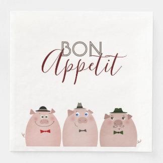 Pigs Funny Elegant Dandy Gentleman Bon Appetit Paper Napkins