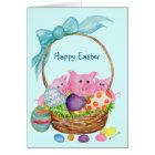 Pigs Happy Easter Card. Pigs, eggs, Easter basket Card