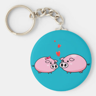 Pigs in love keychain