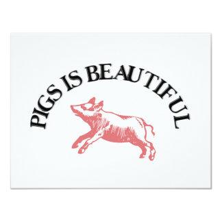 Pigs is Beautiful 11 Cm X 14 Cm Invitation Card